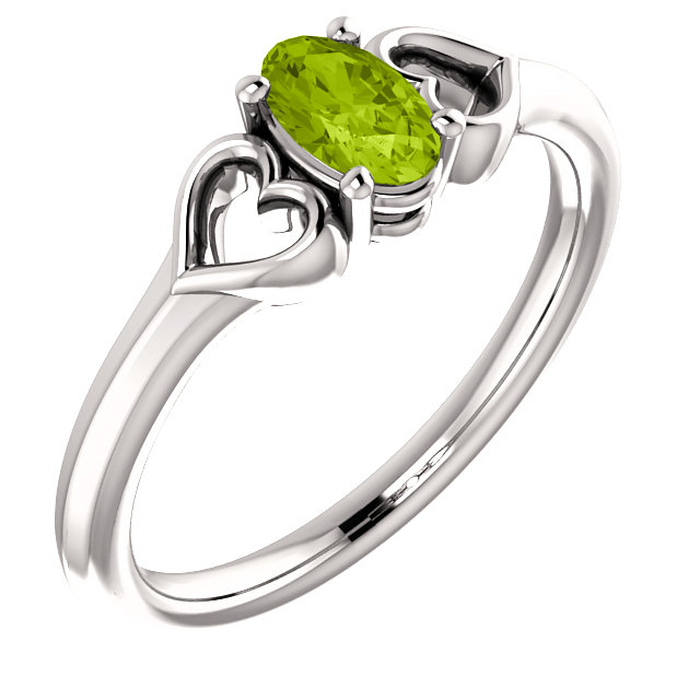 Alluring 14 Karat White Gold Oval Genuine Peridot Youth Heart Ring