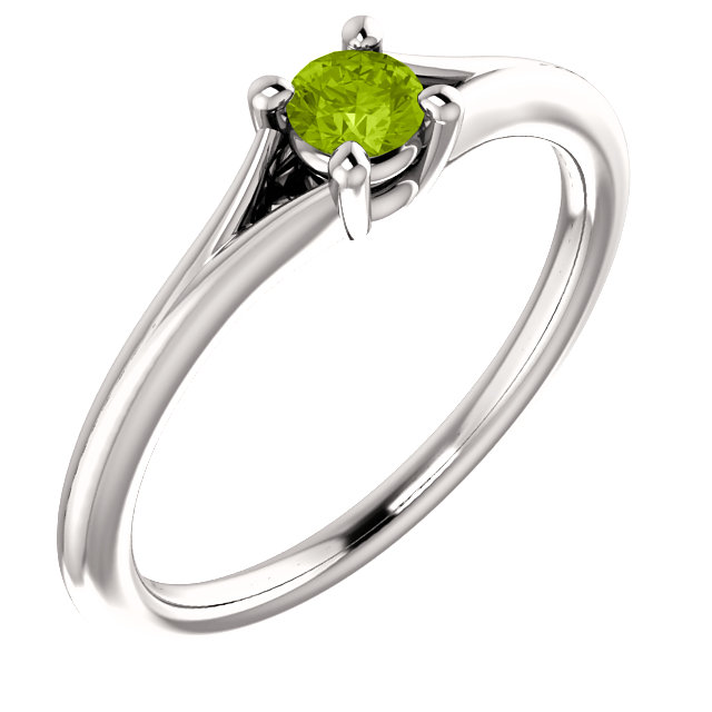 Wonderful 14 Karat White Gold Round Genuine Peridot Youth Ring
