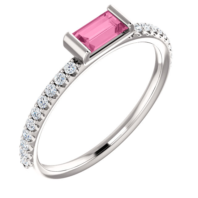 14 Karat White Gold Pink Sapphire & 0.17 Carat Diamond Stackable Ring
