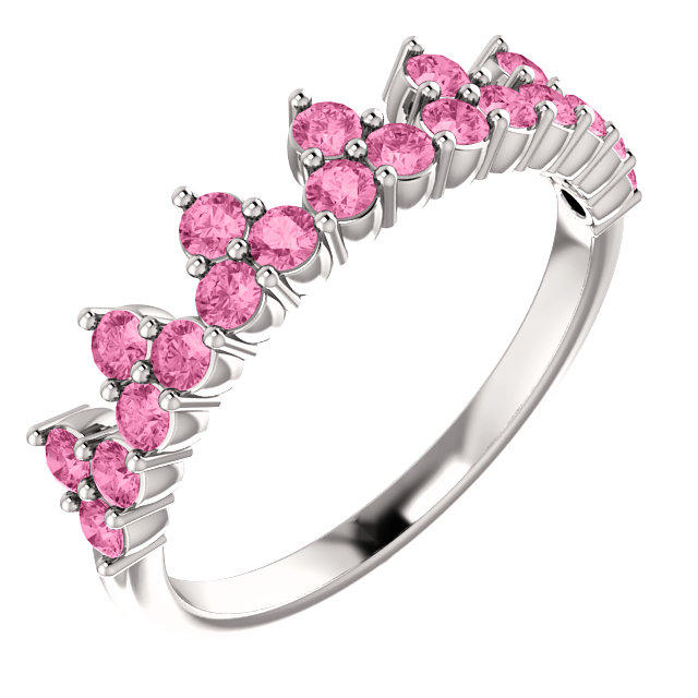 14 Karat White Gold Pink Sapphire Crown Ring