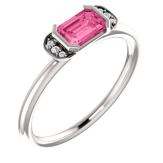 Perfect Jewelry Gift 14 Karat White Gold  Pink Tourmaline & .02 Carat Total Weight Diamond Stackable Ring