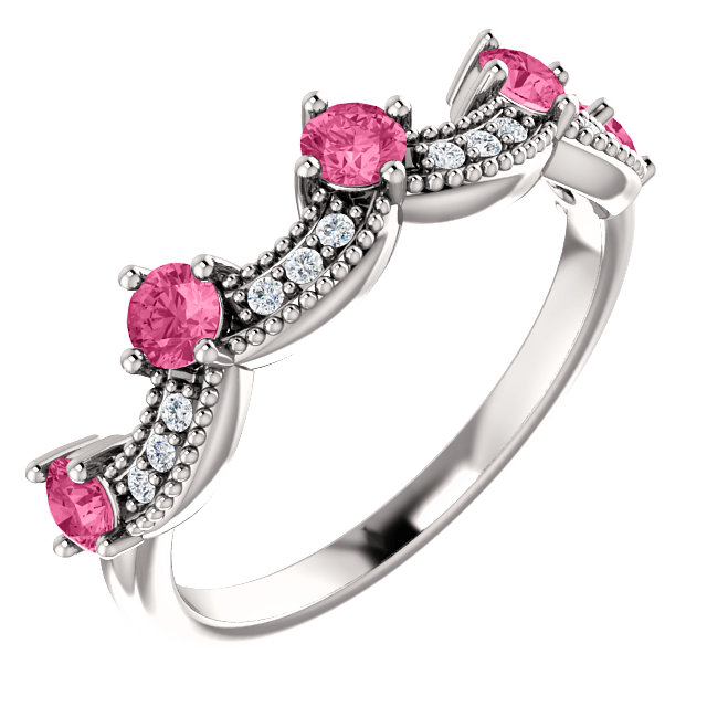 Perfect Jewelry Gift 14 Karat White Gold Pink Tourmaline & .06 Carat Total Weight Diamond Crown Ring