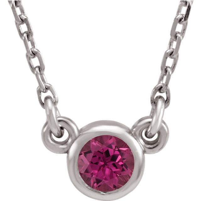 Stylish 14 KT White Gold Round Genuine Pink Tourmaline 16