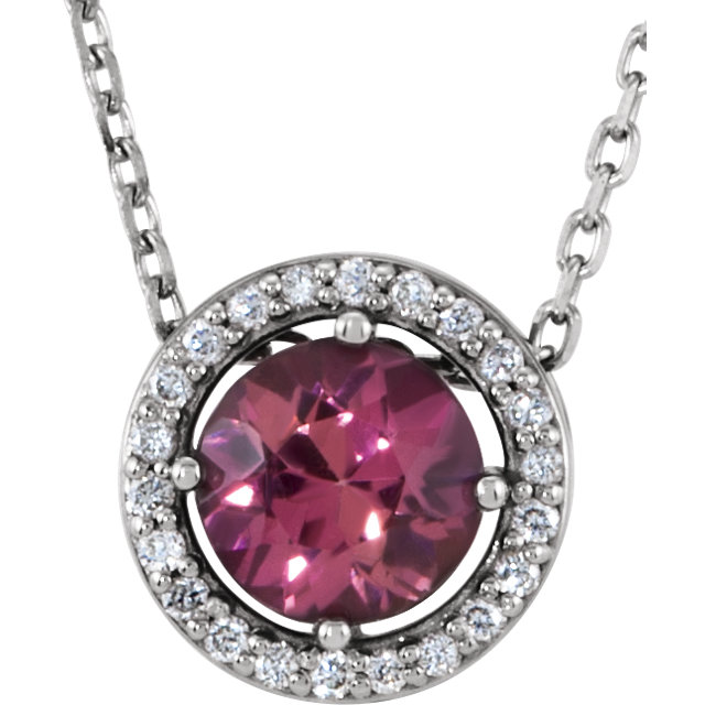 Wonderful 14 Karat White Gold Pink Tourmaline & .05 Carat Total Weight Diamond 16