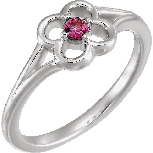 Easy Gift in 14 Karat White Gold Pink Tourmaline Flower Youth Ring