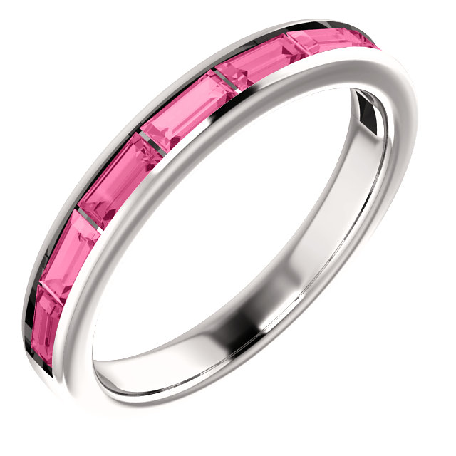 Contemporary 14 Karat White Gold Pink Tourmaline Ring