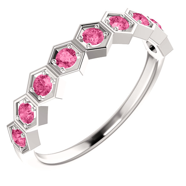 14 KT White Gold Pink Tourmaline Stackable Ring