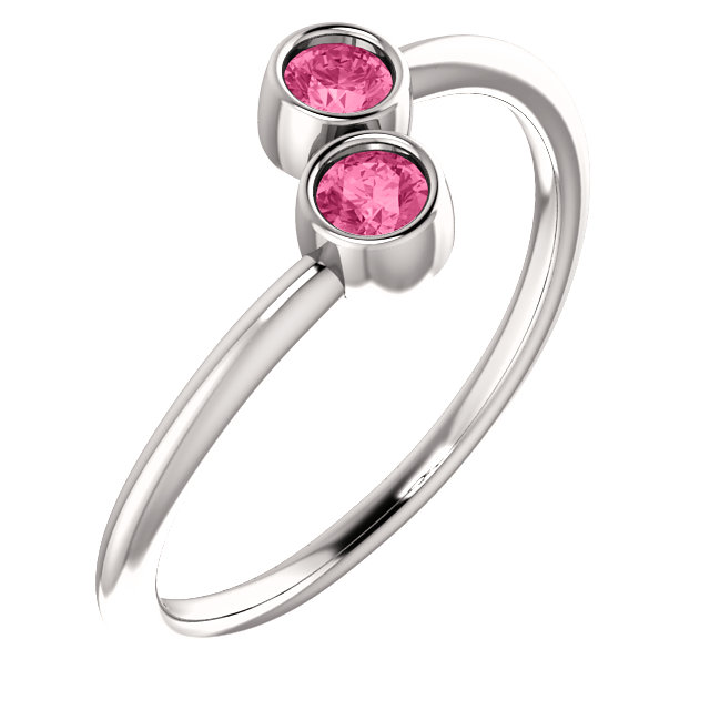 Great Buy in 14 KT White Gold Pink Tourmaline Two-Stone Ring