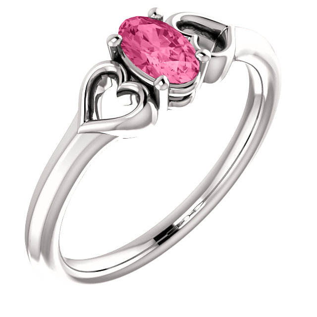 Jewelry Find 14 KT White Gold Pink Tourmaline Youth Heart Ring