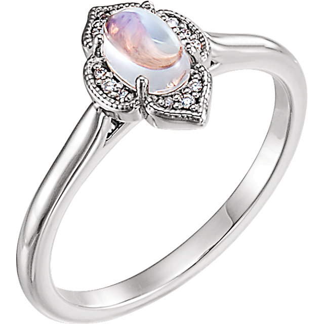 Appealing Jewelry in 14 Karat White Gold Rainbow Moonstone & .03 Carat Total Weight Diamond Clover Cabochon Ring