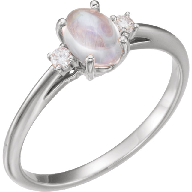 Surprise Her with  14 Karat White Gold Rainbow Moonstone & .06 Carat Total Weight Diamond Ring