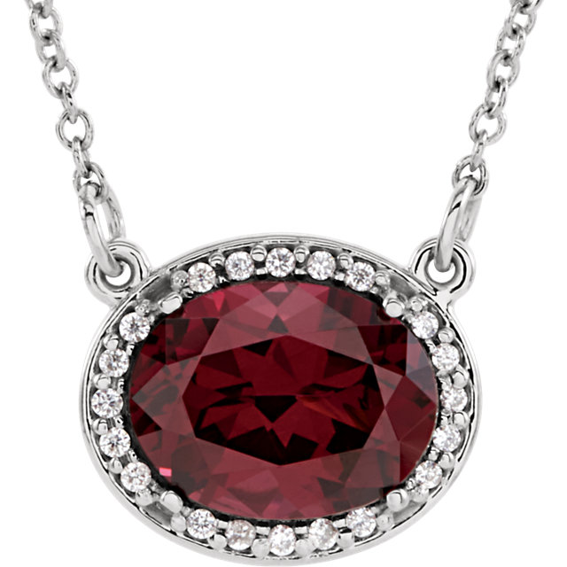 Beautiful 14 Karat White Gold Rhodolite Garnet & .05 Carat Total Weight Diamond 16.5