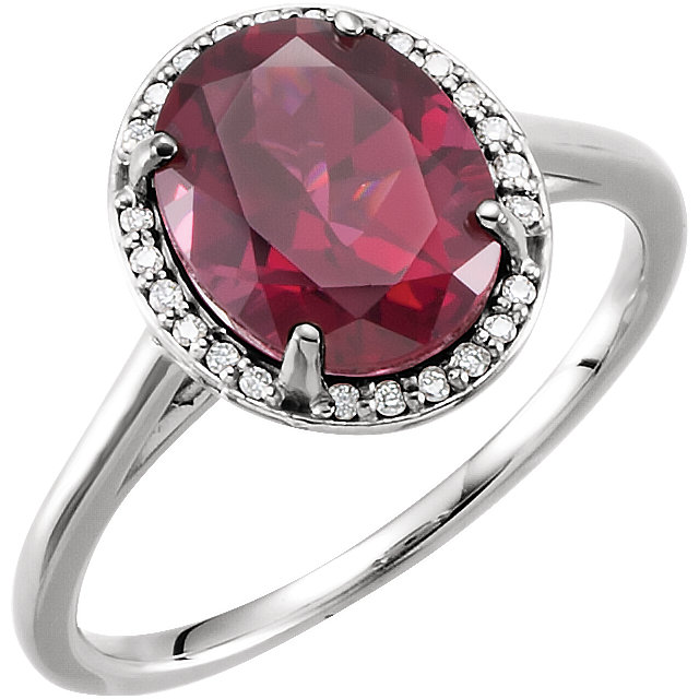 Great Gift in 14 Karat White Gold Rhodolite Garnet & .06 Carat Total Weight Diamond Ring