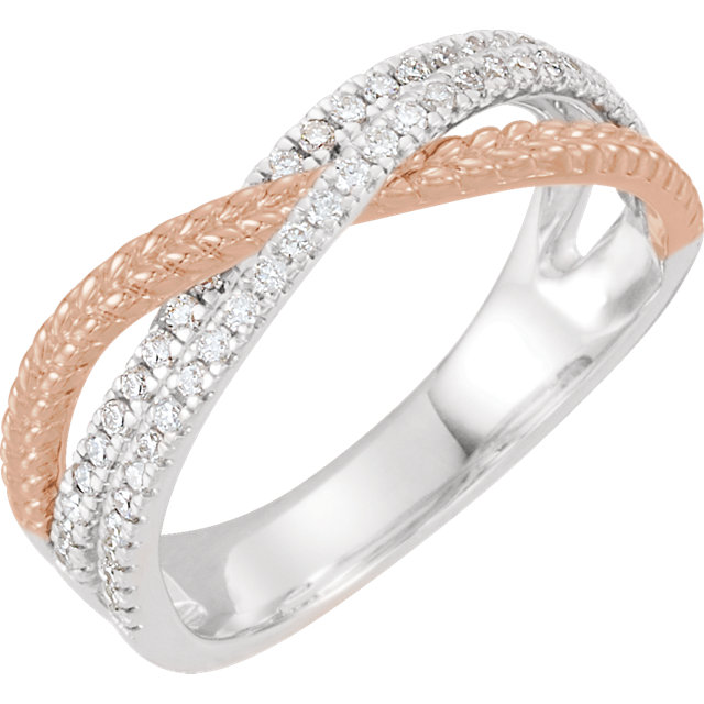 14 KT White Gold & Rose 1/3 Carat TW Diamond Criss Cross Ring