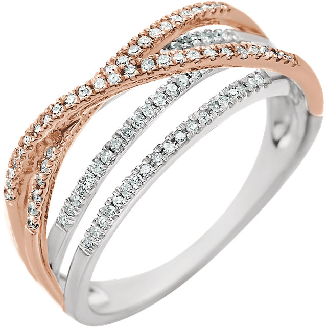 Perfect Gift Idea in 14 Karat White Gold & Rose 0.25 Carat Total Weight Diamond Criss-Cross Ring