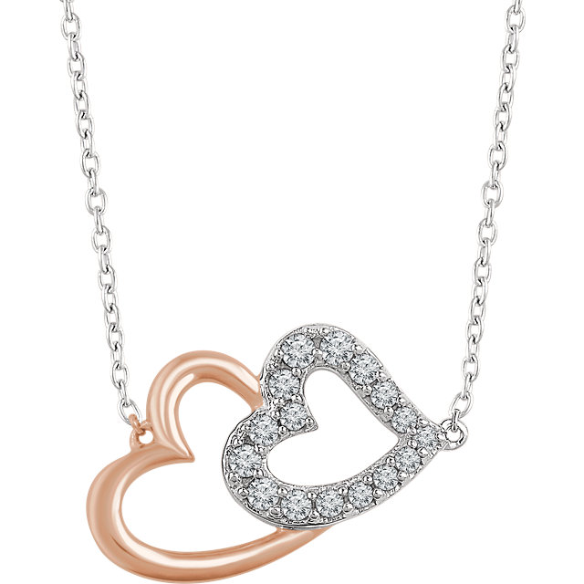 Shop Real 14 KT White Gold & Rose 0.20 Carat TW Diamond Double Heart 16-18