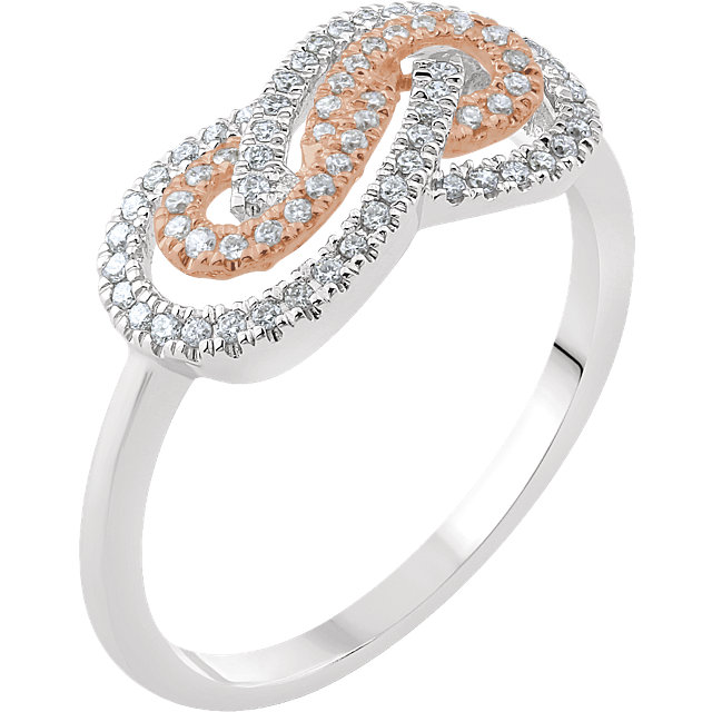 Fine Quality 14 Karat White Gold & Rose 0.20 Carat Total Weight Diamond Infinity-Inspired Ring