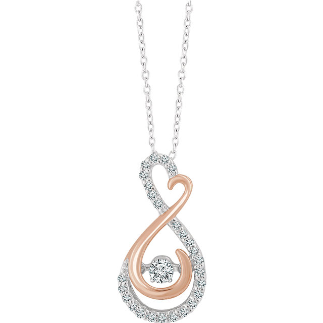 Nice 14 KT White & Rose Gold 1/6 Carat TW Mystara Round Genuine Diamonds Necklace