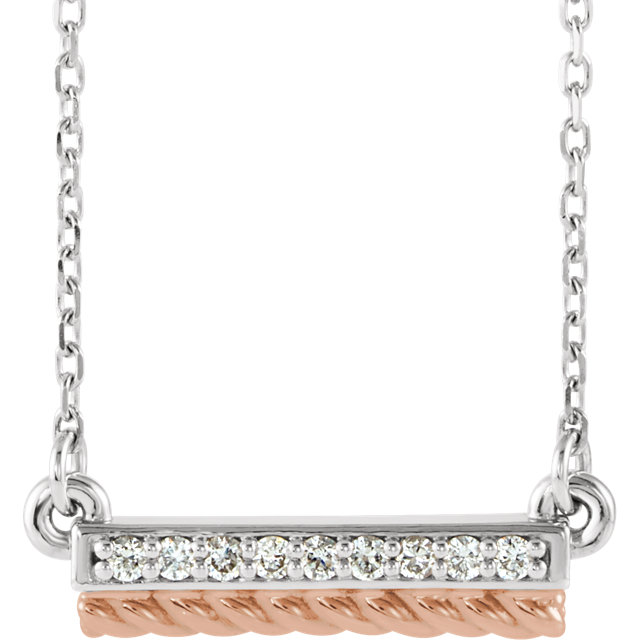 Shop 14 Karat White Gold & Rose .08 Carat Diamond Rope Bar 16-18