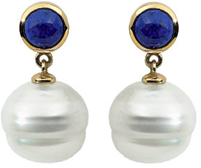 14 Karat White Gold Round Lapis Dangle Earrings