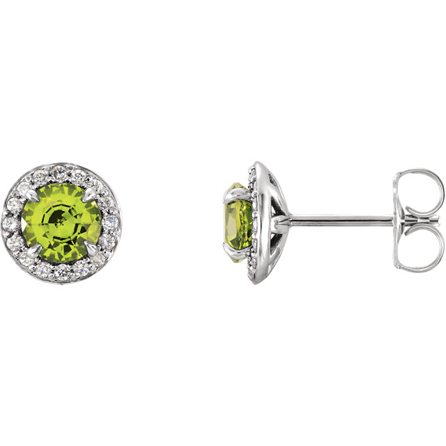 Contemporary 14 Karat White Gold Round Peridot & 0.12 Carat Total Weight Diamond Earrings