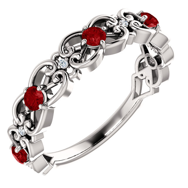 Great Gift in 14 Karat White Gold Ruby & .025 Carat Total Weight Diamond Vintage-Inspired Scroll Ring