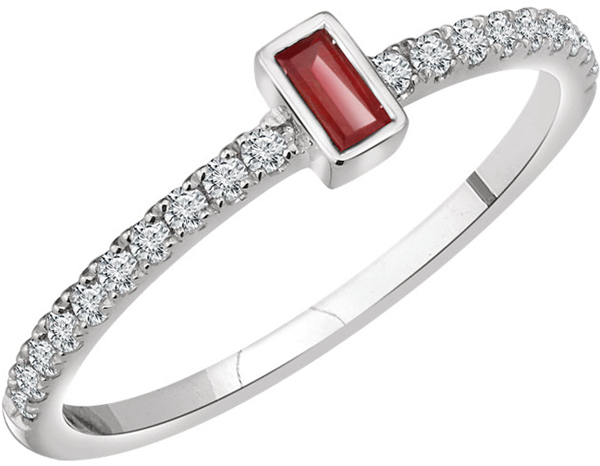 14 Karat White Gold Ruby & 1/5 Carat Total Weight Diamond Ring
