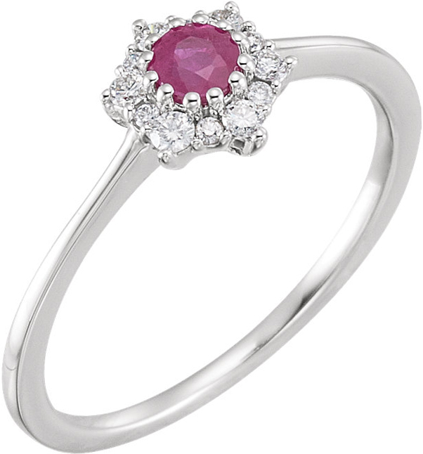 14 Karat White Gold Ruby & 1/8 Carat Total Weight Diamond Ring