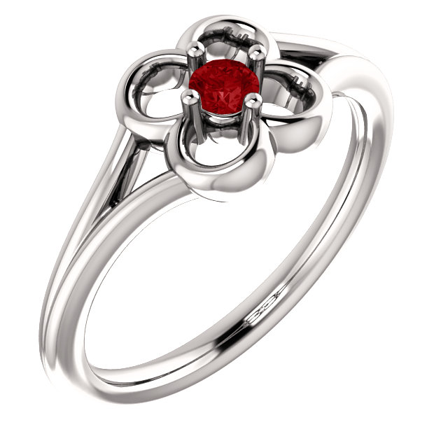 Genuine 14 Karat White Gold Ruby Flower Youth Ring