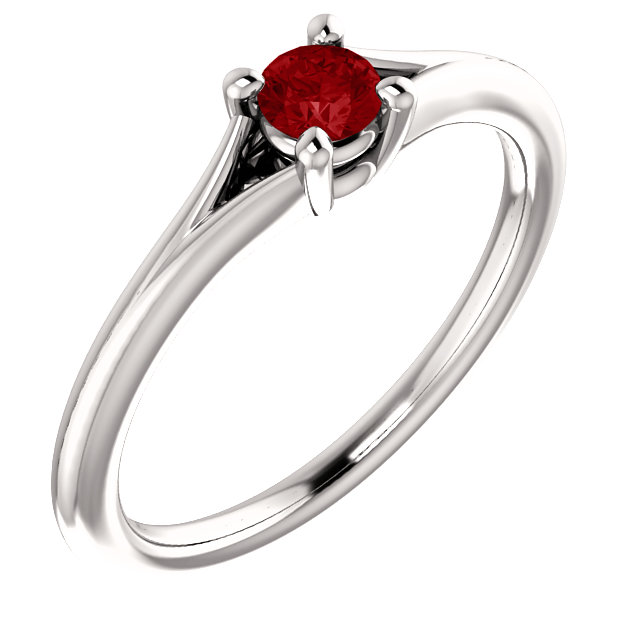 14 Karat White Gold Ruby Youth Ring