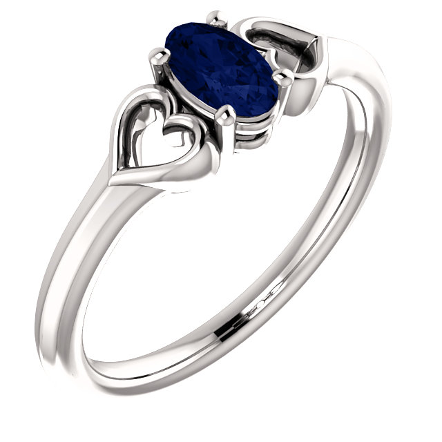 Genuine Sapphire Ring in 14 Karat White Gold Sapphire Youth Heart Ring