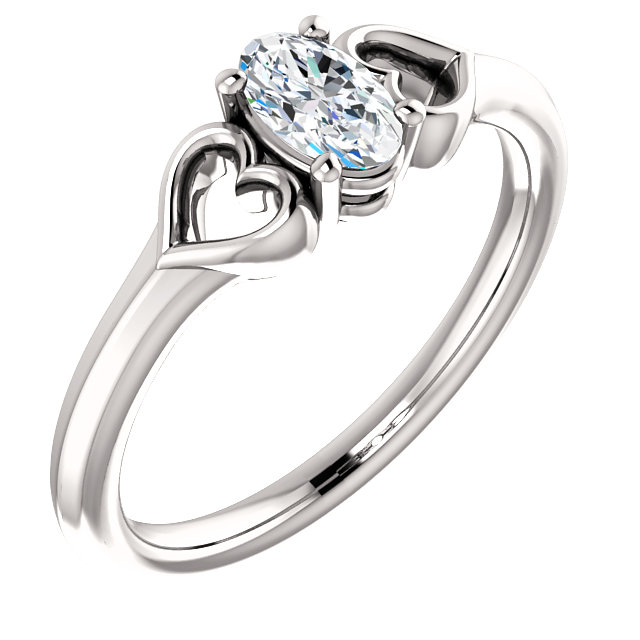 Perfect Gift Idea in 14 Karat White Gold Sapphire Youth Heart Ring