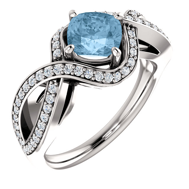 Stunning 14 Karat White Gold Cushion Genuine Sky Blue Topaz & 1/3 Carat Total Weight Diamond Ring