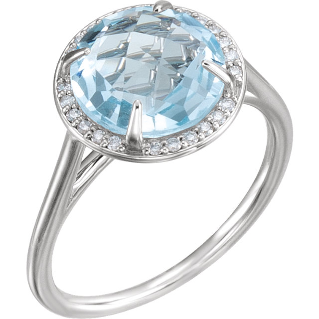 Excellent 14 Karat White Gold Round Genuine Sky Blue Topaz & 1/8 Carat Total Weight Diamond Ring