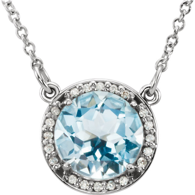 Perfect Gift Idea in 14 Karat White Gold 7mm Round Sky Blue Topaz and .04 Carat Total Weight Diamond 16