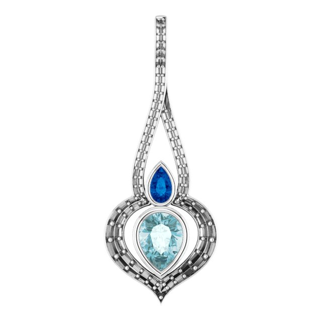 Genuine Topaz Pendant in 14 Karat White Gold Sky Genuine Topaz, Genuine Sapphire & 0.40 Carat Diamond Pendant