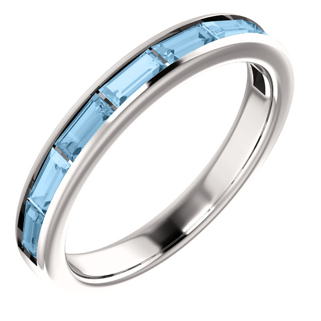 Trendy 14 Karat White Gold Straight Baguette Genuine Sky Blue Topaz Ring