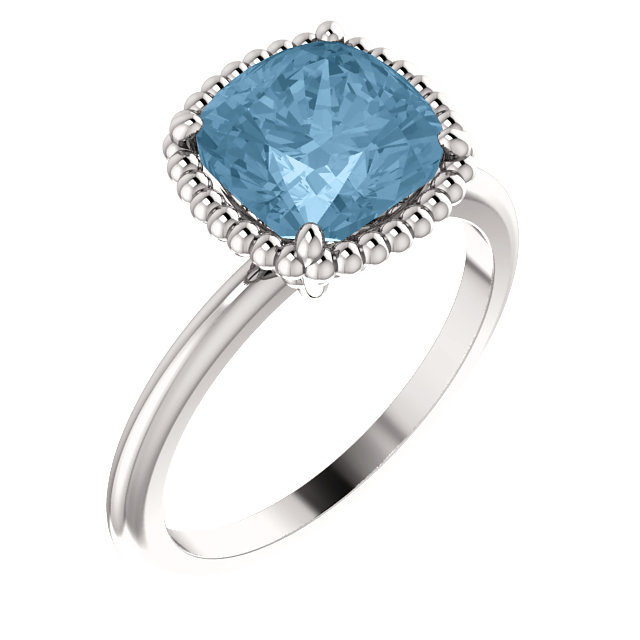 14 Karat White Gold Sky Blue Topaz Ring