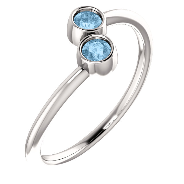 Excellent 14 Karat White Gold Round Genuine Sky Blue Topaz Two-Stone Ring