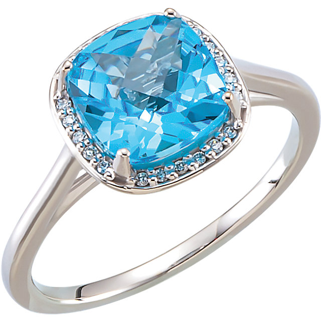 Beautiful 14 Karat White Gold Swiss Blue Topaz & .055 Carat Total Weight Diamond Halo-Style Ring