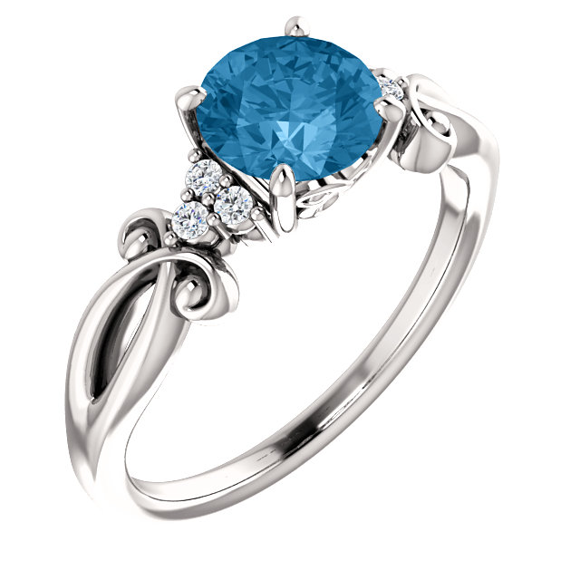 Excellent 14 Karat White Gold Round Genuine Swiss Blue Topaz & .06 Carat Total Weight Diamond Ring