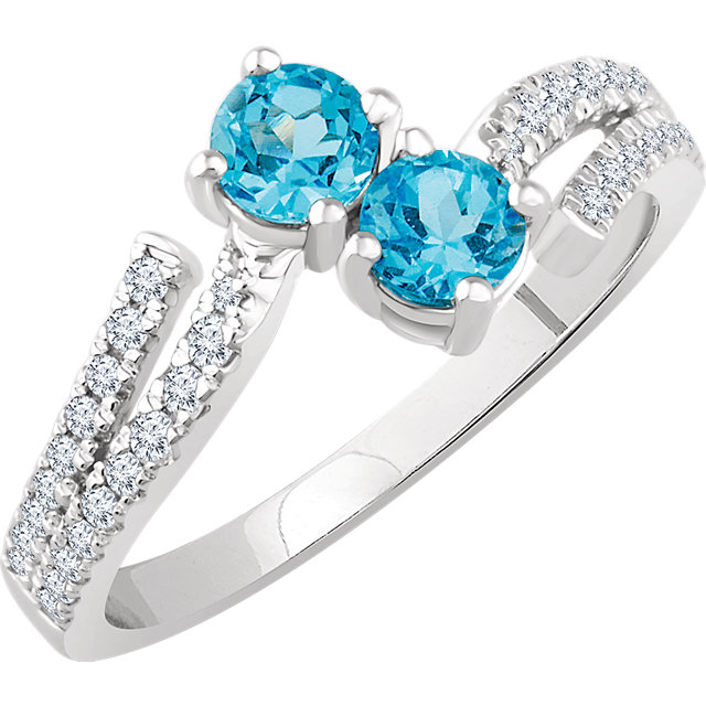 Lovely 14 Karat White Gold Round Genuine Swiss Blue Topaz & 1/4 Carat Total Weight Diamond Ring