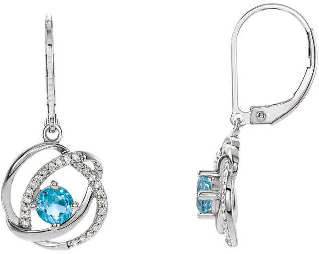 14 Karat White Gold Swiss Blue Topaz & 1/8 Carat Total Weight Diamond Earrings