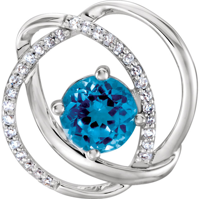 Chic 14 Karat White Gold Swiss Blue Topaz and 0.10 Carat Total Weight Diamond Pendant