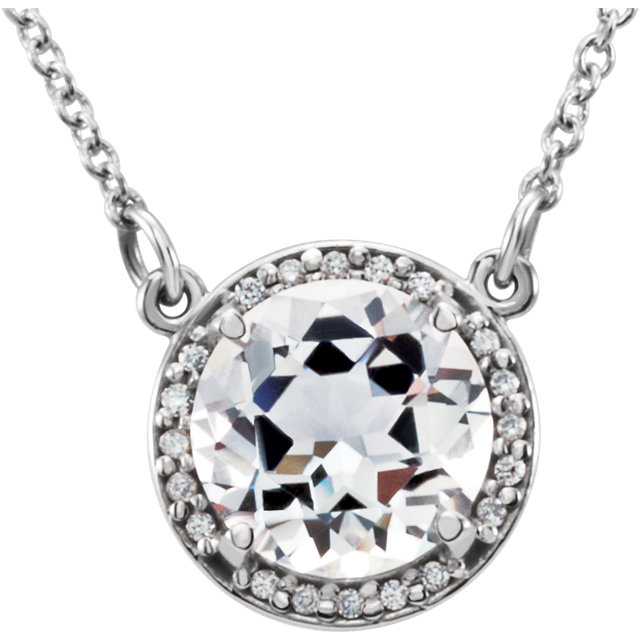 Perfect Jewelry Gift 14 Karat White Gold 6mm Round White Topaz & .04 Carat Total Weight Diamond 16