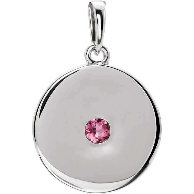 Great Buy in 14 KT White Gold Tourmaline Disc Pendant