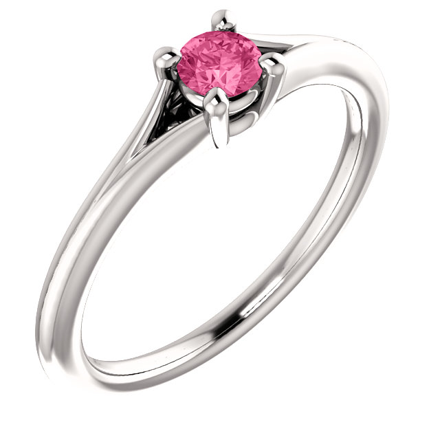 Appealing Jewelry in 14 Karat White Gold Tourmaline Youth Ring