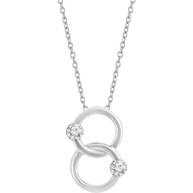 Gorgeous 14 Karat White Gold Two-Stone Interlocking Circle 18