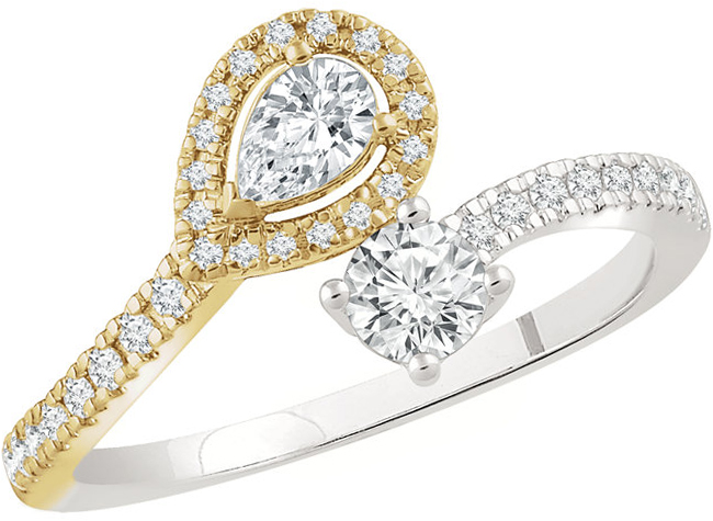14 Karat White Gold & Yellow 1 1/4 Carat Total Weight Diamond Two-Stone Bypass Ring