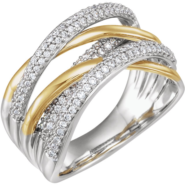 Shop Real 14 KT White Gold & Yellow 0.50 Carat TW Diamond Criss-Cross Ring